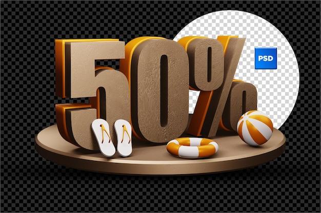 Desconto de 50% na venda de verão 3d isolado