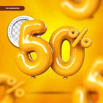 Desconto de texto em balão de até 50% renderização em 3d isolada