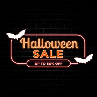 Desconto de venda de halloween com estilo neon.