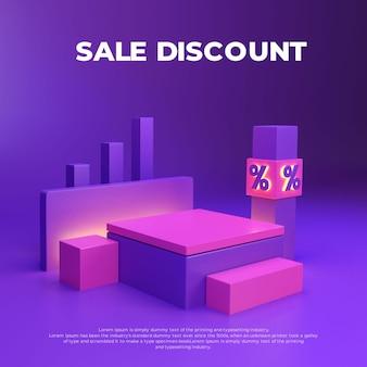 Desconto de venda rosa roxo display promocional de produto de pódio realista em 3d