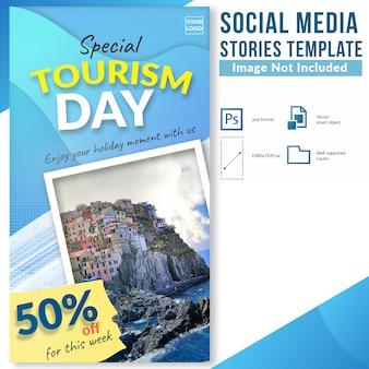 Desconto de viagem de dia de turismo oferecer modelo de histórias de mídia social