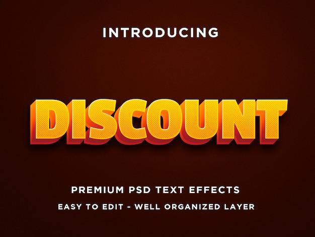 Desconto efeito de texto 3d laranja premium psd