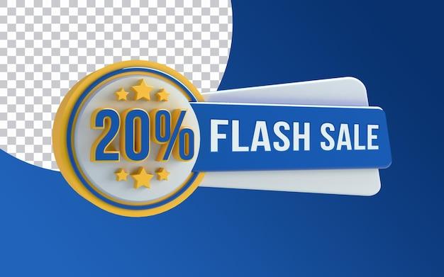 Desconto em banner de venda em flash 3d
