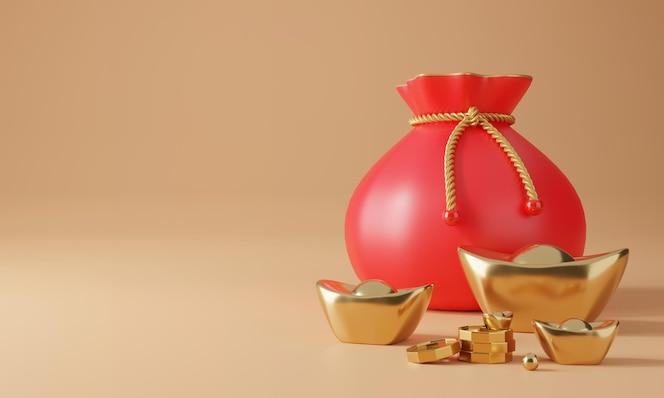 Desenho 3d chinês com renderização de ouro, moeda e bolsa da sorte