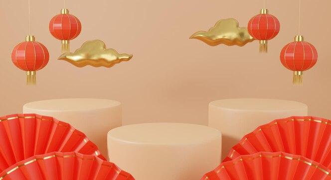 Desenho 3d chinês com renderização de pódio, nuvem e lanternas vermelhas