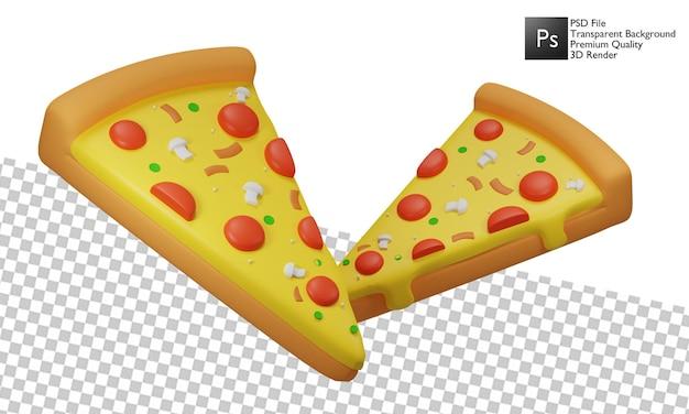 Desenho 3d de ilustração de pizza