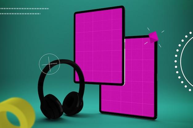 Desenho abstrato com tablet de tela rosa e fones de ouvido