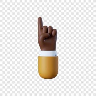 Desenho animado afro-americano empresário apontando com a mão