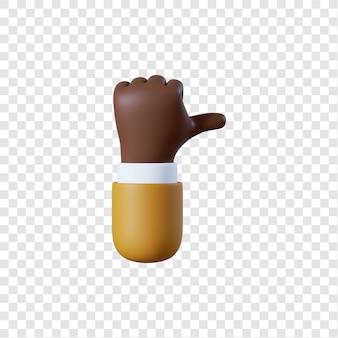 Desenho animado afro-americano empresário com gesto de polegar para cima