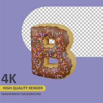 Desenho animado da letra b de rosquinhas renderizando modelagem em 3d