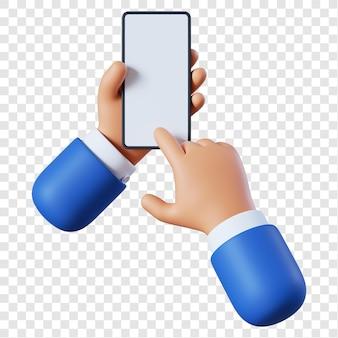 Desenho animado empresário mãos com smartphone