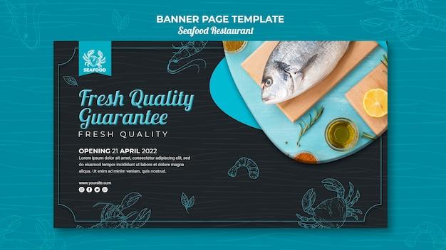 Desenho de banner de restaurante de frutos do mar