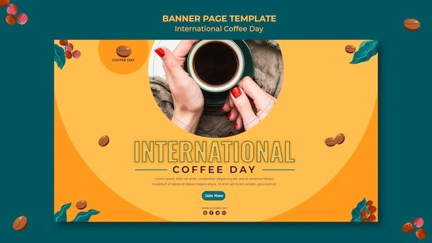 Desenho de banner do dia internacional do café