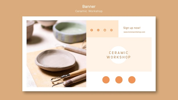 Desenho de banner para oficina de cerâmica