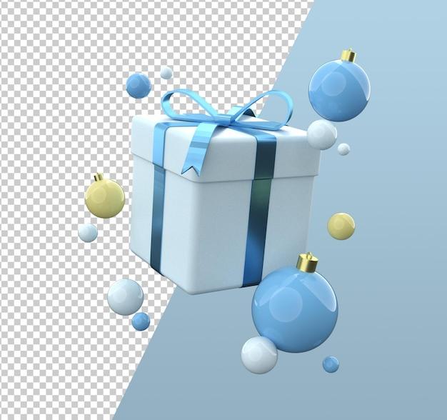 Desenho de caixa de presente de natal com renderização 3d isolada
