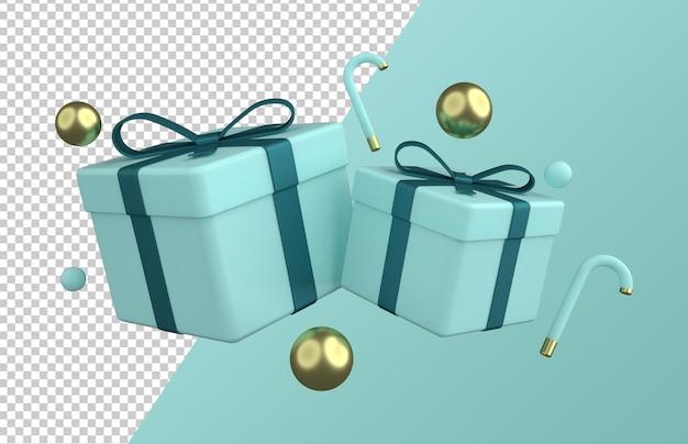 Desenho de caixa de presente de natal isolado