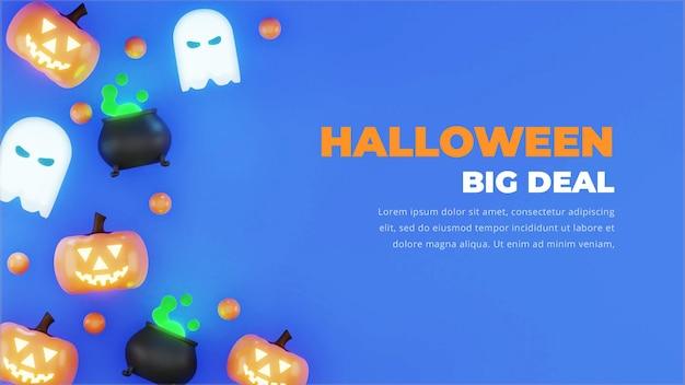 Desenho de fundo de halloween, renderização em 3d