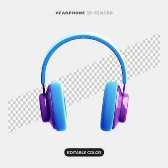 Desenho de ícone de fone de ouvido 3d isolado