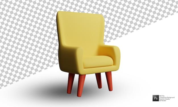 Desenho de ilustração 3d de sofá em fundo branco