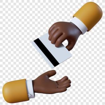 Desenho de mão de empresário afro-americano dando cartão de crédito