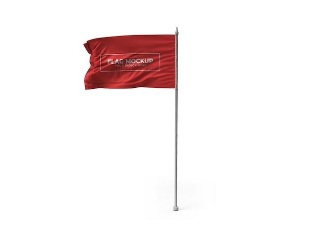Desenho de maquete de bandeira acenando isolado Psd Premium