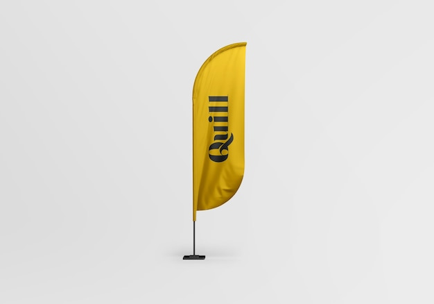 Desenho de maquete de bandeira de pena isolado