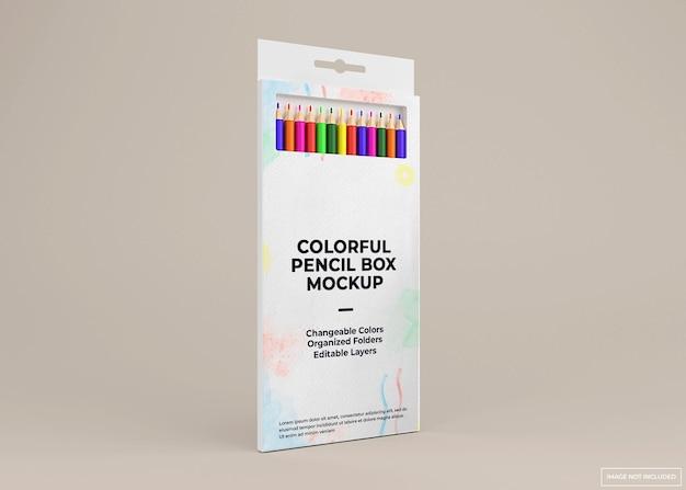 Desenho de maquete de caixa de pacote de lápis colorido isolado
