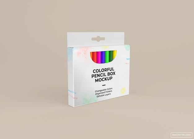 Desenho de maquete de caixa de pacote de lápis de cera isolado