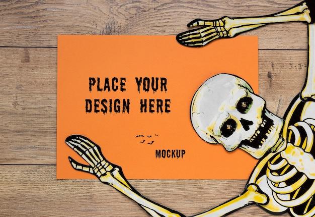 Desenho de mock-up com desenho de esqueleto