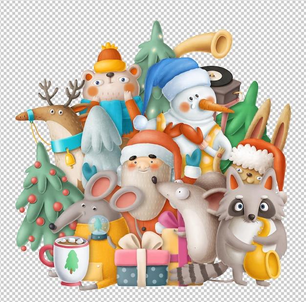 Desenho de natal com boneco de neve, papai noel e animais engraçados