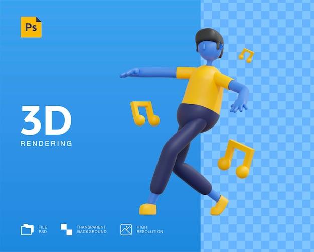 Desenho de personagem de homem dançando