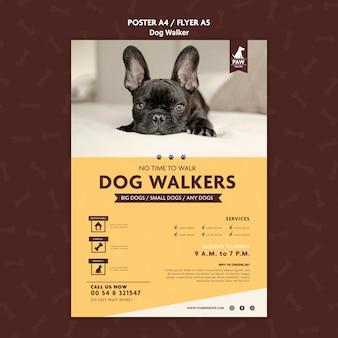 Desenho de pôster para passeador de cães