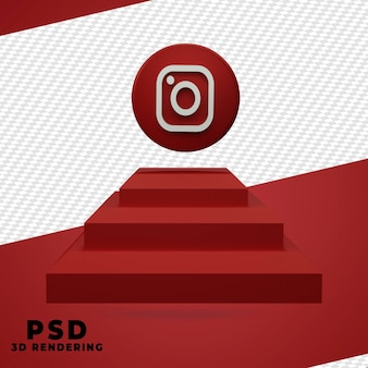 Desenho de renderização 3d instagram isolado