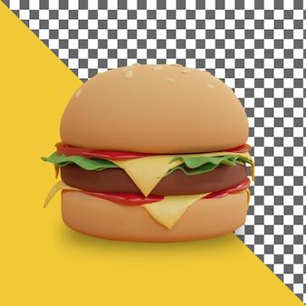 Desenho de renderização de hambúrguer de desenho animado 3d