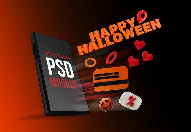 Desenho de smartphone de halloween de maquete renderização em 3d
