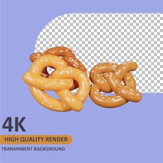 Desenho em 3d de pão de pretzel renderização modelagem