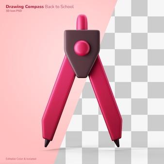 Desenho técnico bússola ícone de renderização em 3d cor editável isolada