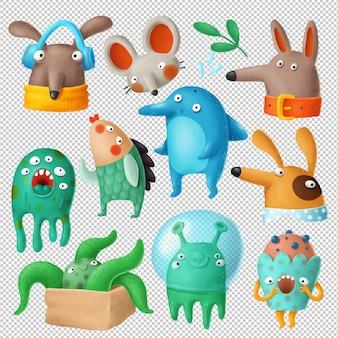 Desenhos animados doodles coleção de clipart