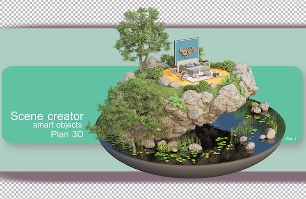 Desenhos arquitetônicos e de design de interiores em renderização em 3d