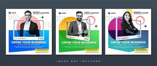Desenvolvimento de negócios de streaming ao vivo e workshop de marketing na internet modelo de postagem em mídia social no instagram