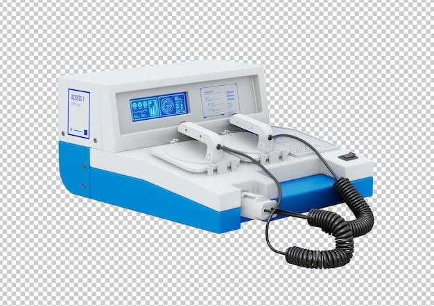 Desfibrilador externo automático portátil isolado no fundo branco. renderização 3d