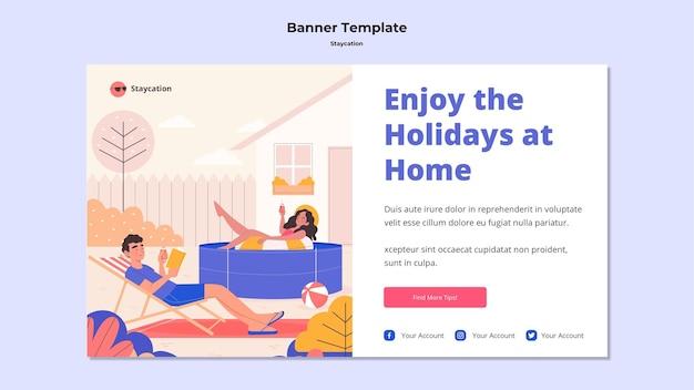 Desfrute de férias em casa banner design