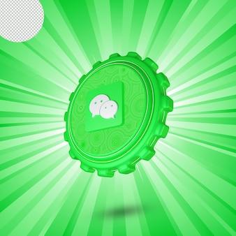 Design 3d brilhante com logotipo wechat isolado