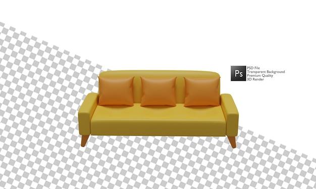 Design 3d de ilustração de sofá