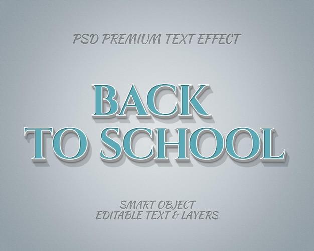 Design clássico de efeito de texto de volta às aulas