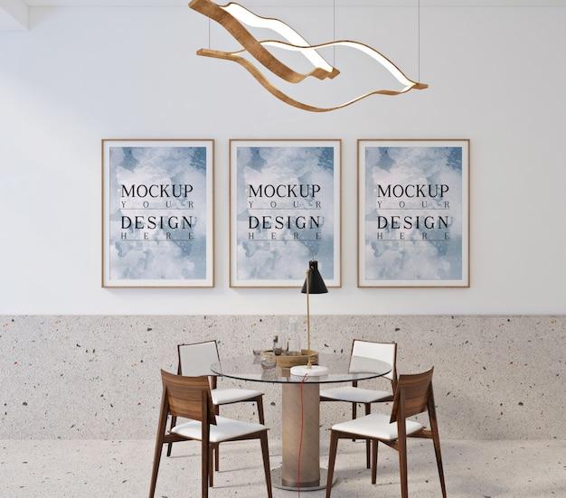 Design contemporâneo moderno da sala de jantar com moldura de pôster de maquete