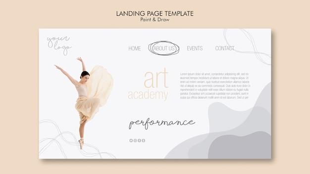 Design da página de destino da academia de arte