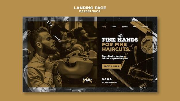 Design da página de destino da barbearia