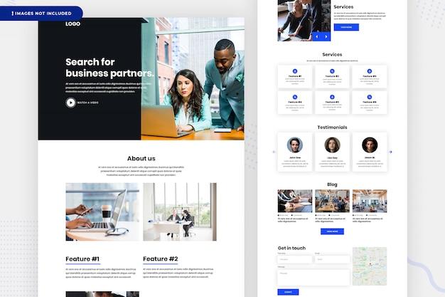 Design da página de destino da empresa