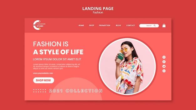 Design da página de destino da moda
